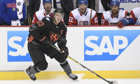 14 September 2016: Team North America F Connor McDavid (97) skates with the puck during the first period in the World Cup of Hockey Pre-Tournament game between Team Czech Republic and Team North America at the Consol Energy Center in Pittsburgh, Pennsylvania. (Photo by Jeanine Leech/Icon Sportswire)
