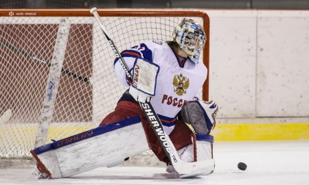 Goaltender Ilya Samsonov from Russia in match between Sweden and Russia during Five nations U18 ice hockey tournament in Kravare, Czech Republic, on February 8, 2015. Photo/Frantisek Gela (CTK via AP Images) [Via MerlinFTP Drop]