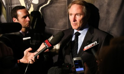11 April 2015: Pittsburgh Penguins head coach Mike Johnston interviews after an NHL game between the Pittsburgh Penguins and Buffalo Sabres at the First Niagara Center in Buffalo, NY.