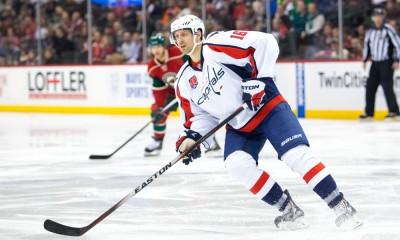 MAR 19, 2014: Washington Capitals forward Eric Fehr (16) skates after the puck in the second period against the Minnesota Wild at Xcel Energy Center, St. Paul, MN. The Washington Capitals beat the Minnesota Wild 3-2.