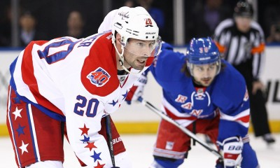 March 29, 2015: Washington Capitals Right Wing Troy Brouwer (20) [4523] during the second period of an Eastern Conference NHL match up between the Washington Capitals and the New York Rangers at Madison Square Garden in New York, NY.