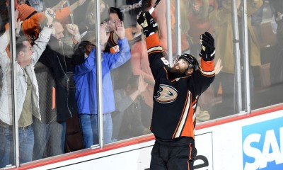 25 May 2015: Anaheim Ducks Left Wing Patrick Maroon (19) [5692] celebrates after scoring the Ducks' fourth goal of the game in the third period during game 5 of the NHL Western Conference Final between the Chicago Blackhawks and the Anaheim Ducks at the Honda Center in Anaheim, CA.