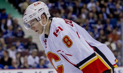 15 April 2015 :  Calgary Flames forward Joe Colborne (8)  vs the Vancouver Canucks during Game #1 of the 2015 NHL Western Conference Quarter Finals at Rogers Arena in Vancouver, British Columbia, Canada. Calgary won 2-1.  ****For Editorial Use Only****