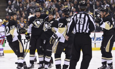 22 April 2015: Pittsburgh Penguins right wing Patric Hornqvist (72) celebrates his goal with teammates during the first period of Game Four in the First Round of the 2015 NHL Stanley Cup Playoffs between the New York Rangers and the Pittsburgh Penguins at the Consol Energy Center in Pittsburgh, Pennsylvania.