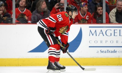 15 February, 2015:  Chicago Blackhawks Defenceman Kyle Cumiskey (26) [5486] in action during a game between the Pittsburgh Penguins and the Chicago Blackhawks at the United Center, in Chicago, IL.