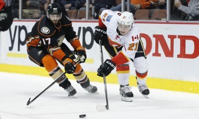 January 21, 2015: Anaheim Ducks center Ryan Kesler (17) and Calgary Flames left wing Mason Raymond (21) during the NHL regular season game against the Calgary Flames and the Anaheim Ducks at the Honda Center in Anaheim, CA.