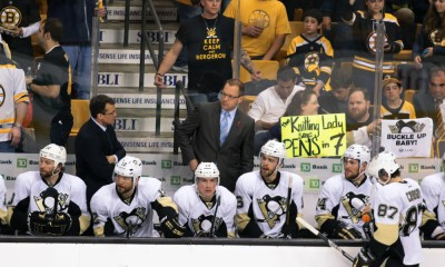 June 7, 2013: Pittsburgh Penguins' Head Coach Dan Bylsma patrols the bench. The Boston Bruins defeated the Pittsburgh Penguins 1-0 in Game 4 of the Eastern Conference Final at TD Garden in Boston, Massachusetts on June 7, 2013. The Bruins win the Eastern Conference Championship.