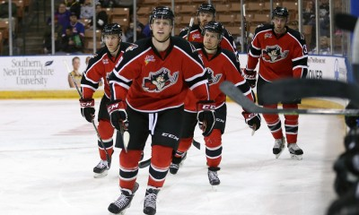 April 23, 2015: Portland Pirates Right Wing Henrik Samuelsson (19) leads his teammates back to the bench after tying the game 1-1. The Manchester Monarchs defeated the Portland Pirates 5-2 in Game 1 of the Eastern Conference Quarterfinals of the 2015 AHL Calder Cup playoffs at Verizon Wireless Arena in Manchester, NH.