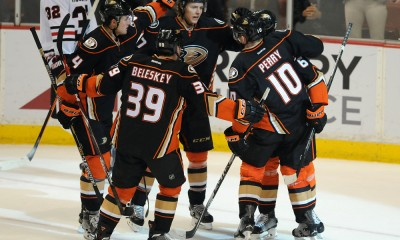 30 Jan. 2015: Anaheim Ducks players react after scoring a goal during a game against the Chicago Blackhawks played at the Honda Center in Anaheim CA.