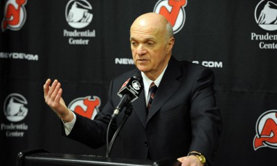 08 January 2010: New Jersey Devils President, CEO and General Manger Lou Lamoriello talks with the media after the game between the New Jersey Devils and Tampa Bay Lightning has been suspended due to lights in the arena  that went out with 9:12 left in the second period of the game at Prudential Center in Newark, NJ