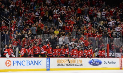 20 April 2013: New Jersey Devils bench reacts after a goal during a Eastern Conference Division matchup between the Florida Panthers and the New Jersey Devils at Prudential Center in Newark, NJ. The Devils beat the Panthers 6-2.