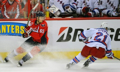 04 May 2015:  Washington Capitals left wing Andre Burakovsky (65) in action against New York Rangers center Derek Stepan (21) at the Verizon Center in Washington, D.C. where the Washington Capitals defeated the New York Rangers, 1-0 in the third game of the Eastern Conference Second Round series of the Stanley Cup Playoffs.