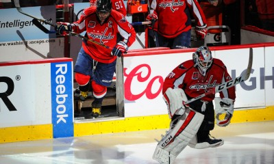 06 May 2015:  Washington Capitals goalie Braden Holtby (70) followed by left wing Alex Ovechkin (8) takes the ice at the Verizon Center in Washington, D.C. where the Washington Capitals defeated the New York Rangers, 2-1 to take a 3-1 series lead in the Eastern Conference Second Round series of the Stanley Cup Playoffs.