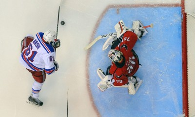 10 May 2015:  New York Rangers left wing Rick Nash (61) scores on Washington Capitals goalie Braden Holtby (70) at the Verizon Center in Washington, D.C. where the New York Rangers defeated the Washington Capitals, 4-3 to tie the Eastern Conference Second Round series of the Stanley Cup Playoffs at 3 games apiece.
