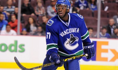 September 23, 2014: Vancouver Canucks defender Jordan Subban (67) during a game against the San Jose Sharks at Rogers Arena in Vancouver, British Columbia.