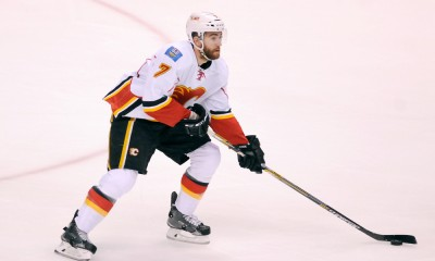 April 23, 2015: Calgary Flames defender TJ Brodie (7) during game 5 of the first round against the Vancouver Canucks at Rogers Arena in Vancouver, British Columbia on Thursday evening.