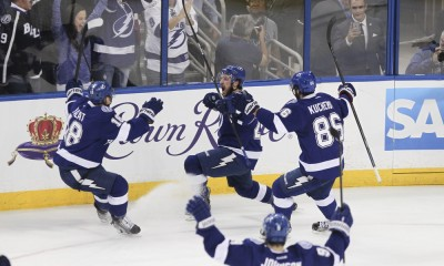 26 May 2015: Tampa Bay Lightning right wing Ryan Callahan (24) celebrates with teammates after scoring a goal in the 1st period of Game 6 of the Stanley Cup Playoff Eastern Conference Finals between the New York Rangers and Tampa Bay Lightning at Amalie Arena in Tampa, FL