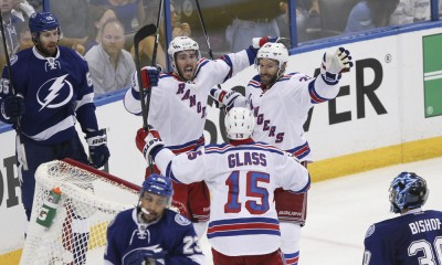 26 May 2015: New York Rangers left wing James Sheppard (45) celebrates with New York Rangers center Dominic Moore (28) and New York Rangers left wing Tanner Glass (15) after scoring a goal in the 3rd period of Game 6 of the Stanley Cup Playoff Eastern Conference Finals between the New York Rangers and Tampa Bay Lightning at Amalie Arena in Tampa, FL