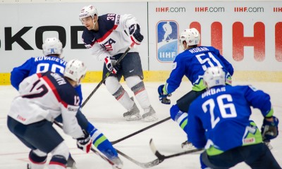 Ostrava, 10.5.2015, Ice Hockey IIHF World Championships, Slovenia - USA, Mark Arcobello (USA) passing the puck.****NO AGENTS----NORTH AND SOUTH AMERICA SALES ONLY----NO AGENTS----NORTH AND SOUTH AMERICA SALES ONLY****