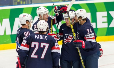 Ostrava, 12.5.2015, Ice Hockey IIHF World Championships, USA - Slovakia,  Charlie Coyle (USA) celebrates his goal with his teammates on 4:4 against Slovakia.****NO AGENTS----NORTH AND SOUTH AMERICA SALES ONLY----NO AGENTS----NORTH AND SOUTH AMERICA SALES ONLY****