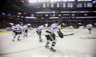 May 17, 2014. The Ontario Hockey League Champions, Guelph Storm takes the ice for their game against the Edmonton Oil Kings in London Ontario, Canada. The 2014 Memorial Cup is being hosted by the London Knights and is being played at Budweiser Gardens.
