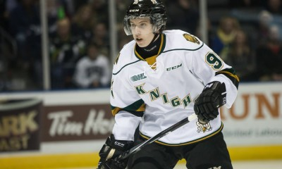 October 15, 2014.  Mitchell Marner (93) of the London Knights follows the play during a game between the London Knights and the Erie Otters played at Budweiser Gardens in London Ontario, Canada. The Knights went on to win the game 4-3 in a shootout.