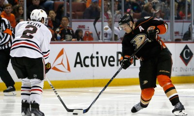 28 NOV 2014: Anaheim Ducks Right Wing Corey Perry (10) with a slap shot during a game between the Chicago Blackhawks vs. Anaheim Ducks at the Honda Center in Anaheim, CA.