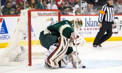 MAY 04, 2015: Minnesota Wild goalie Devan Dubnyk (40) makes a save in the third period against the Chicago Blackhawks at Xcel Energy Center, St. Paul, MN. The Chicago Blackhawks beat Minnesota Wild 1-0.