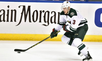 April 16, 2015: Minnesota Wild center Charlie Coyle (3) with the puck during Game One of the Western Conference Quarterfinals between the Minnesota Wild and the St. Louis Blues at Scottrade Center in St. Louis, Mo. Minnesota won, 4-2.
