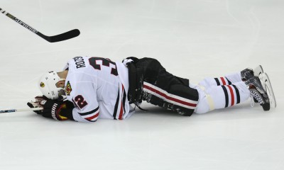 May 7, 2015 Blackhawks defensemen Michal Rozsival (32) goes down the ice in pain during the second period at the Minnesota Wild vs Chicago Blackhawks at Excel Energy Center.