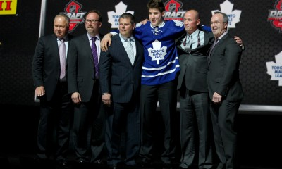 30 June 2013:  The Toronto Maple Leafs select Frederik Gauthier with the twentyfirst pick at the 2013 NHL Entry Draft being held at the Prudential Center in Newark NJ.