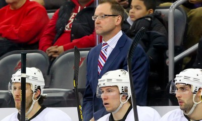 31 DEC 2013: Pittsburgh Penguins head coach Dan Bylsma during the third period of the game between the New Jersey Devils and the Pittsburgh Penguins played at the Prudential center in Newark,NJ. New Jersey Devils defeated the Pittsburgh Penguins 2-1.