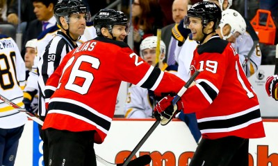 06 JAN 2015: New Jersey Devils left wing Patrik Elias (26) celebrates with teammate New Jersey Devils center Travis Zajac (19) after getting his 1000th career point on an assist to New Jersey Devils left wing Mike Cammalleri (23)(not pictured) on an empty net goal at the end of the third period of the game between the New Jersey Devils and the Buffalo Sabres played at the Prudential Center in Newark,NJ.