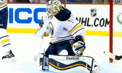 06 JAN 2015:  Buffalo Sabres goalie Jhonas Enroth (1) makes a blocker save during the first period of the game between the New Jersey Devils and the Buffalo Sabres played at the Prudential Center in Newark,NJ. The New Jersey Devils defeat the Buffalo Sabres 4-1.