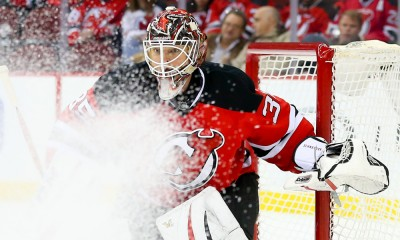 09 FEB 2015:  New Jersey Devils goalie Cory Schneider (35) during the second period of the game between the New Jersey Devils and the Edmonton Oilers played at the Prudential Center in Newark,NJ.The Edmonton Oilers defeat the New Jersey Devils 2-1.