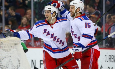 07 APR 2015:  New York Rangers left wing James Sheppard (45) celebrates with New York Rangers left wing Tanner Glass (15) after scoring during the third period of the game between the New Jersey Devils and the New York Rangers played at the Prudential Center in Newark,NJ. The New York Rangers defeat the New Jersey Devils 4-2 and win the Presidents Trophy.