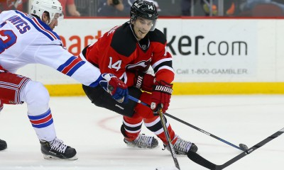 07 APR 2015:  New Jersey Devils center Adam Henrique (14) during the second period of the game between the New Jersey Devils and the New York Rangers played at the Prudential Center in Newark,NJ. The New York Rangers defeat the New Jersey Devils 4-2 and win the Presidents Trophy.