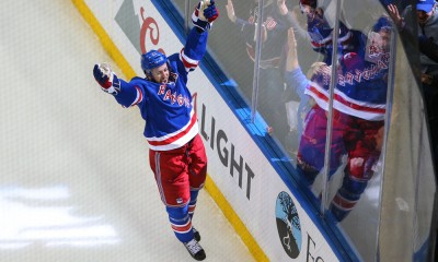 16 MAY 2015:  New York Rangers center Derek Stepan (21) celebrates after scoring during the second period of the Eastern Conference Final Game 1 between the New York Rangers and the Tampa Bay Lightning played at Madison Square Garden in New York City.