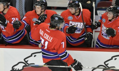 15 January 2014: Team Cherry Forward Michael Dal Colle (71) is congratulated by his teammates after scoring a goal during the CHL/NHL top prospects game at Scotiabank Saddledome in Calgary Alberta, Canada.
