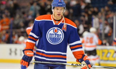 21 March 2015: Edmonton Oilers Left Wing Taylor Hall (4) [7046] returns to the lineup after missing 19 games with a leg injury for a game against the Philadelphia Flyers at Rexall Place in Edmonton, Alberta, Canada.