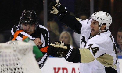 April 18, 2015: Pittsburgh Penguins Left Wing Chris Kunitz (14) reacts after scoring what turned out to be the winning goal during the 3rd period of game 2 of the Stanley Cup Playoffs between the Pittsburgh Penguins and the New York Rangers at Madison Square Garden in New York, NY. The Pittsburgh Penguins tie up the series at 1 game apiece with a 4-3 win over the NY Rangers in regulation.