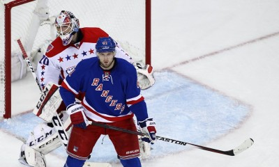 April 30, 2015: New York Rangers Left Wing Rick Nash (61) screens Washington Capitals Goalie Braden Holtby (70) during game 1 of the Eastern Conference semi-finals between the Washington Capitals and the New York Rangers at Madison Square Garden in New York, NY.