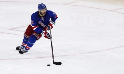 April 30, 2015: New York Rangers Defenceman Dan Boyle (22) during game 1 of 2015 Eastern Conference semi-finals between the Washington Capitals and the New York Rangers at Madison Square Garden in New York, NY. The Washington Capitals take a 1 game lead with a game winning goal by Joel Ward with 1.3 seconds remaining in the game.
