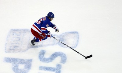 May 8, 2015: New York Rangers Center Derick Brassard (16) during player warm-up's prior to the start of game 5 of the Eastern Conference semi-finals between the  Washington Capitals and the New York Rangers at Madison Square Garden in New York, NY.