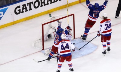 May 8, 2015: New York Rangers Martin St. Louis (26) and New York Rangers Dan Girardi (5) celebrate after a game tying goal late in the third period by New York Rangers Left Wing Chris Kreider (20) during game 5 of the Eastern Conference semi-finals between the  Washington Capitals and the New York Rangers at Madison Square Garden in New York, NY.