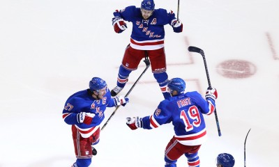 May 8, 2015: New York Rangers Defenceman Ryan McDonagh (27) is meet by teammates Jesper Fast (19) and Derek Stepan (21) after scoring the game winning goal in overtime of game 5 of the Eastern Conference semi-finals between the  Washington Capitals and the New York Rangers at Madison Square Garden in New York, NY.