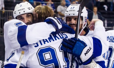 May 29, 2015: The Tampa Bay Lightning celebrate after winning game 7 of the Eastern Conference Finals between the Tampa Bay Lightning and the New York Rangers at Madison Square Garden in New York, NY. Tampa Bay moves on the the Stanley Cup Finals after defeating the NY Rangers 2-0.