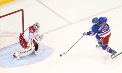 May 2, 2015: New York Rangers Center Derick Brassard (16) scores on Washington Capitals Goalie Braden Holtby (70) during the third period of the game between the Washington Capitals and the New York Rangers at Madison Square Garden, New York, NY.