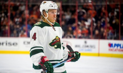 20 NOV 2014: Minnesota Wild left wing Matt Cooke (24) takes a breather before action resumes during the game between the Philadelphia Flyers and the Minnesota Wild played at the Wells Fargo Center in Philadelphia, PA