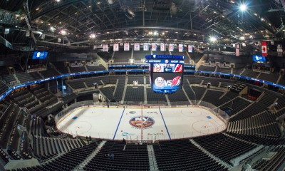 September 26, 2014: A general view of Barclays Center set up for hockey prior to the New Jersey Devils versus the New York Islanders game, at Barclays Center in Brooklyn, NY.